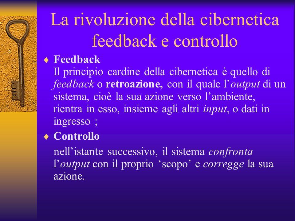 La rivoluzione della cibernetica feedback e controllo Feedback Il principio cardine della cibernetica è quello di feedback o retroazione, con il quale