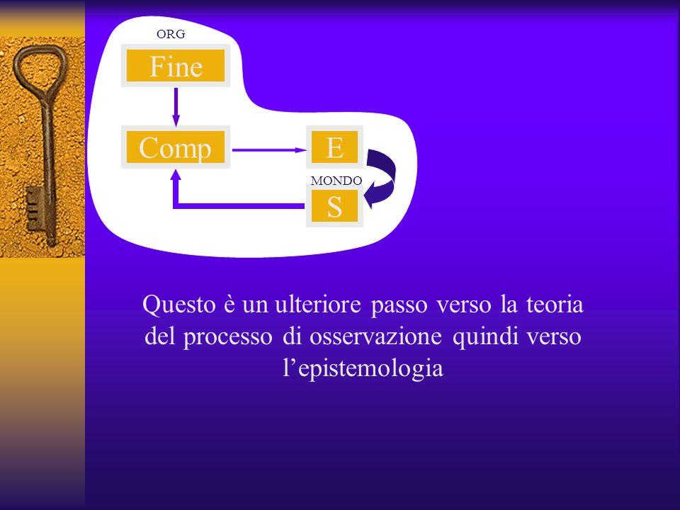 Fine CompE S ORG MONDO Questo è un ulteriore passo verso la teoria del processo di osservazione quindi verso lepistemologia