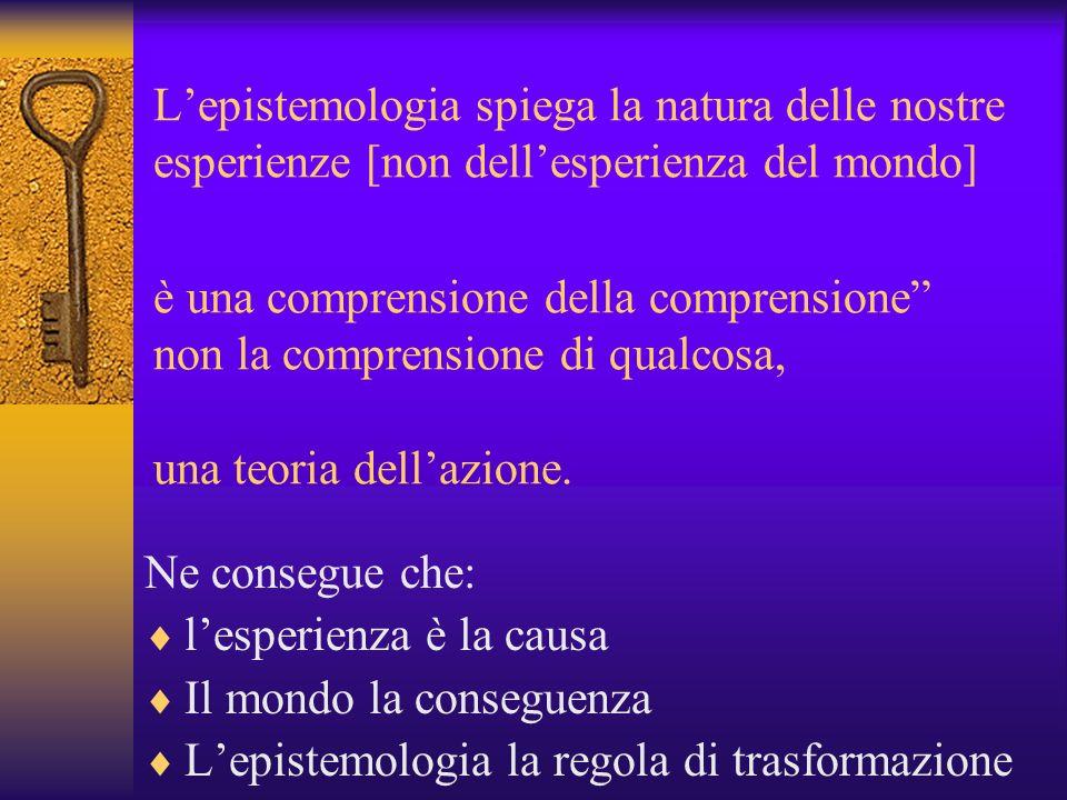 Lepistemologia spiega la natura delle nostre esperienze [non dellesperienza del mondo] è una comprensione della comprensione non la comprensione di qu