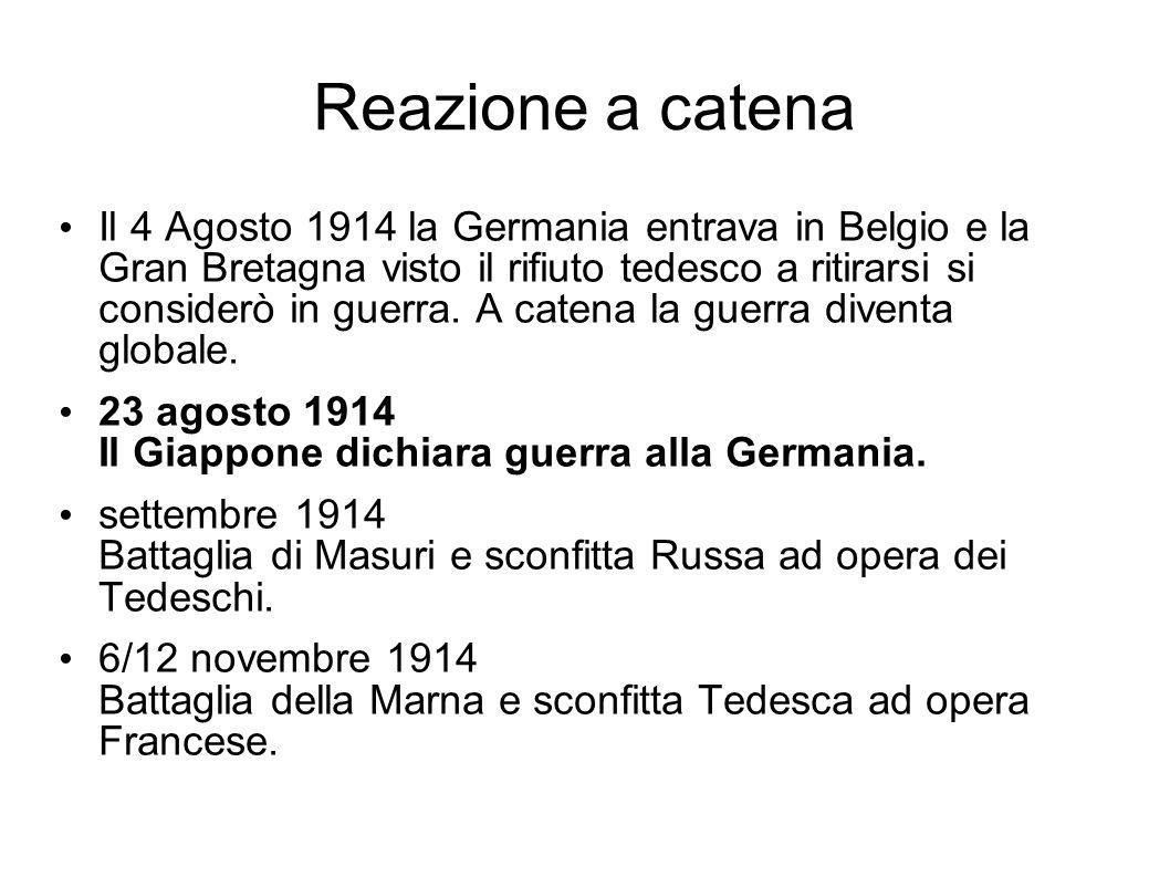 Reazione a catena Il 4 Agosto 1914 la Germania entrava in Belgio e la Gran Bretagna visto il rifiuto tedesco a ritirarsi si considerò in guerra. A cat