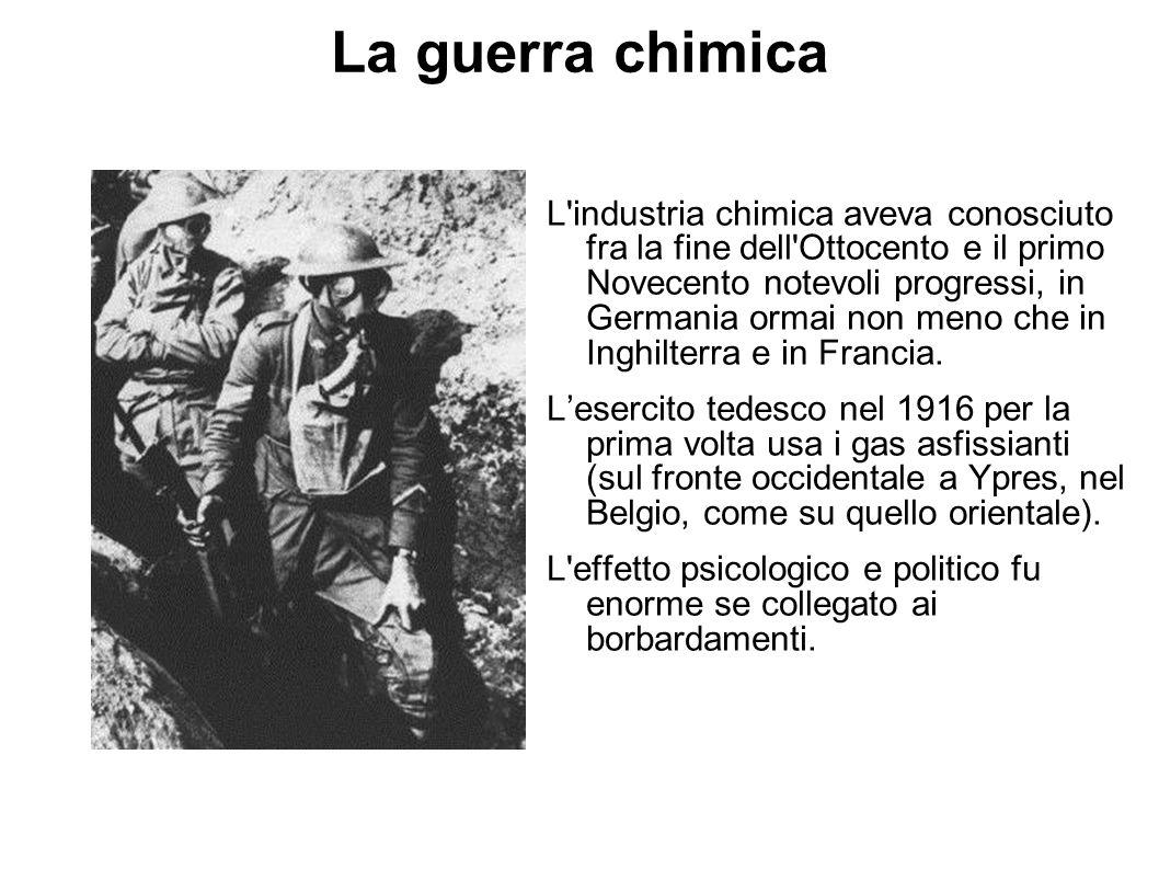 La guerra chimica L'industria chimica aveva conosciuto fra la fine dell'Ottocento e il primo Novecento notevoli progressi, in Germania ormai non meno