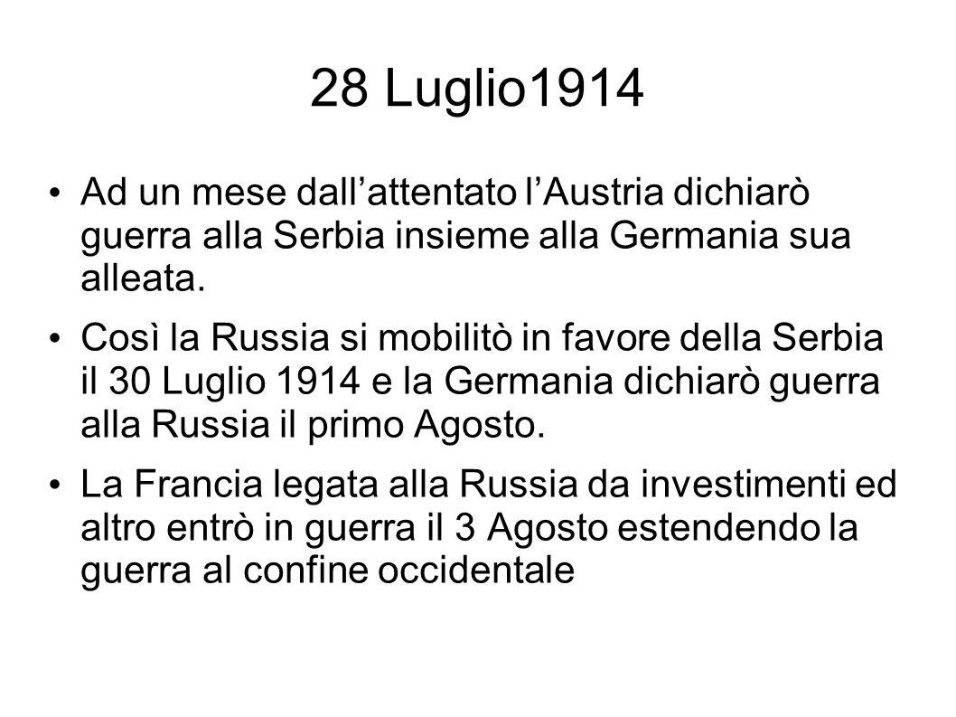 28 Luglio1914 Ad un mese dallattentato lAustria dichiarò guerra alla Serbia insieme alla Germania sua alleata. Così la Russia si mobilitò in favore de