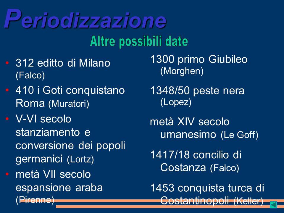 P eriodizzazione 312 editto di Milano (Falco) 410 i Goti conquistano Roma (Muratori) V-VI secolo stanziamento e conversione dei popoli germanici (Lort