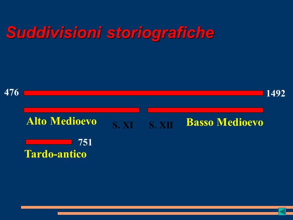 Suddivisioni storiografiche 476 1492 S. XIS. XII Alto Medioevo Basso Medioevo 751 Tardo-antico
