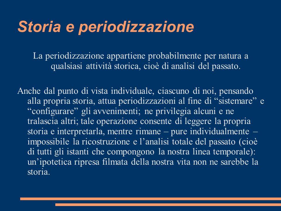 Storia e periodizzazione La periodizzazione appartiene probabilmente per natura a qualsiasi attività storica, cioè di analisi del passato. Anche dal p