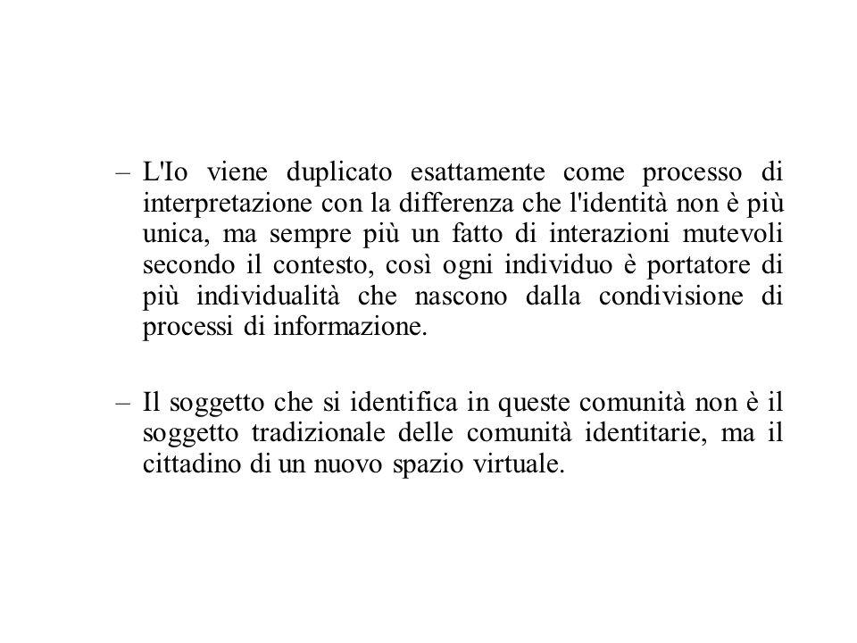 L identità si trasforma e viene modificata sperimentando una scissione tra il virtuale ed il fisico, processo nel quale il virtuale è inteso, come afferma Lévy, non come finzione, ma come potenziale.