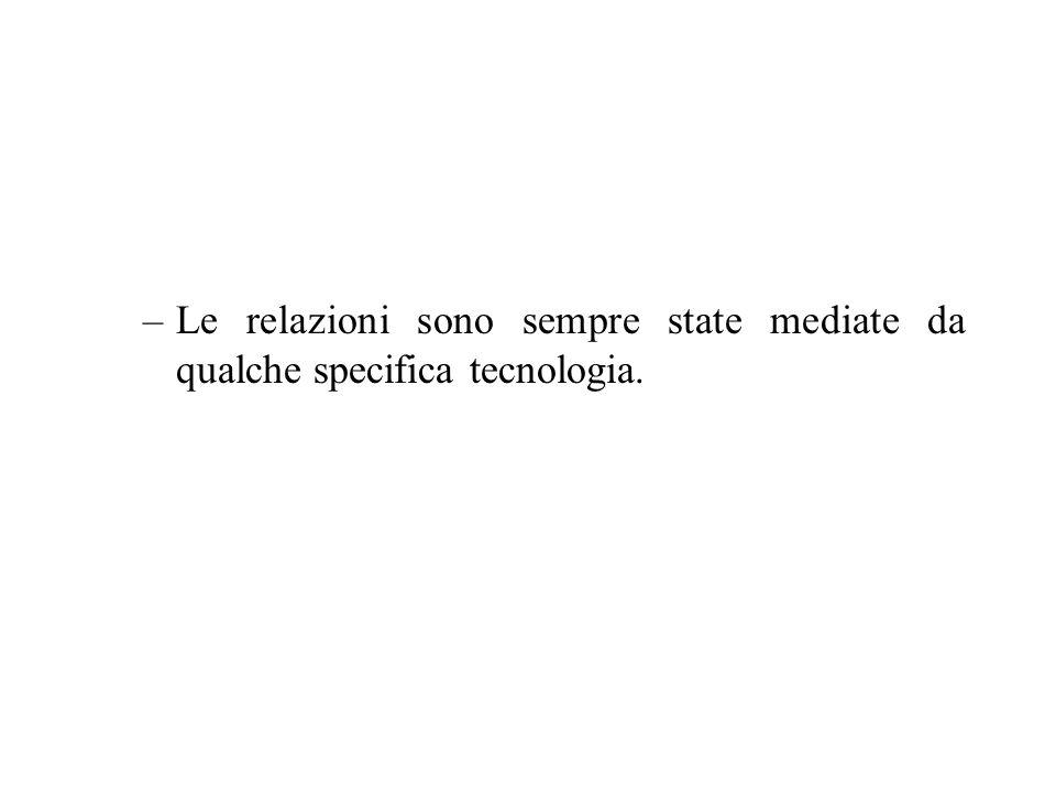 –Le relazioni sono sempre state mediate da qualche specifica tecnologia.