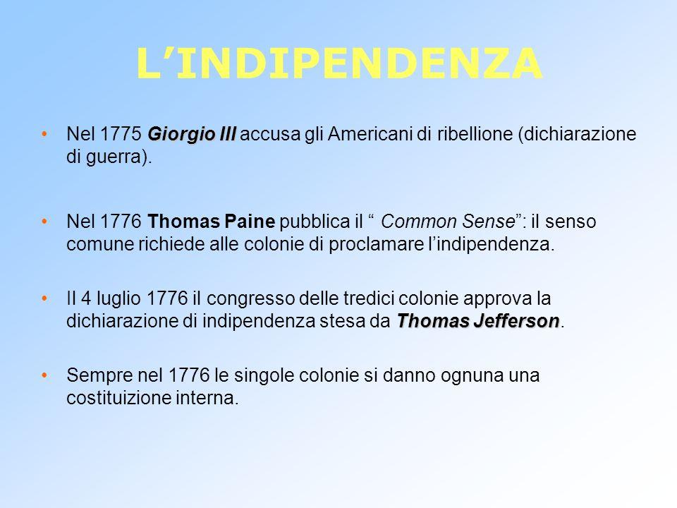 LINDIPENDENZA Giorgio IIINel 1775 Giorgio III accusa gli Americani di ribellione (dichiarazione di guerra). Nel 1776 Thomas Paine pubblica il Common S