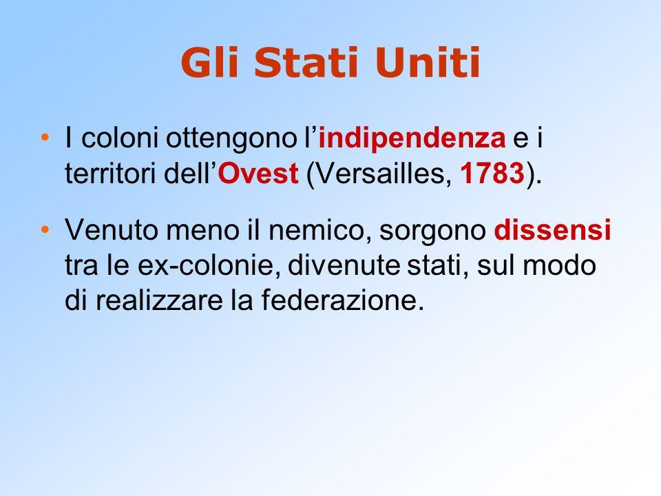 Gli Stati Uniti I coloni ottengono lindipendenza e i territori dellOvest (Versailles, 1783). Venuto meno il nemico, sorgono dissensi tra le ex-colonie