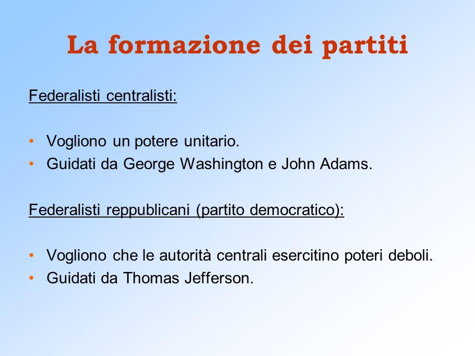 La formazione dei partiti Federalisti centralisti: Vogliono un potere unitario. Guidati da George Washington e John Adams. Federalisti reppublicani (p