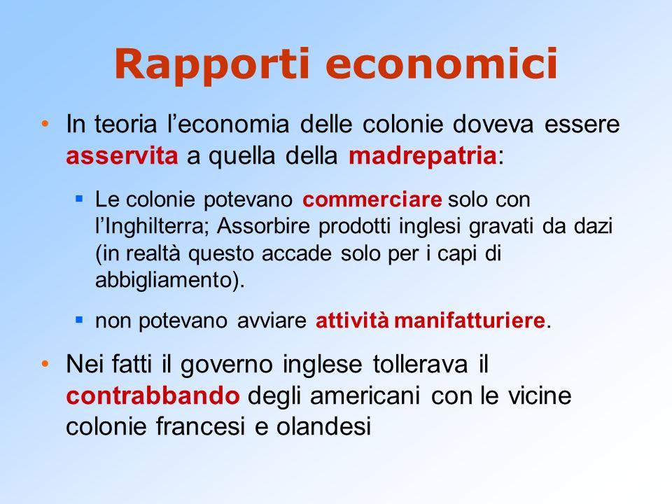 Rapporti economici In teoria leconomia delle colonie doveva essere asservita a quella della madrepatria: Le colonie potevano commerciare solo con lIng