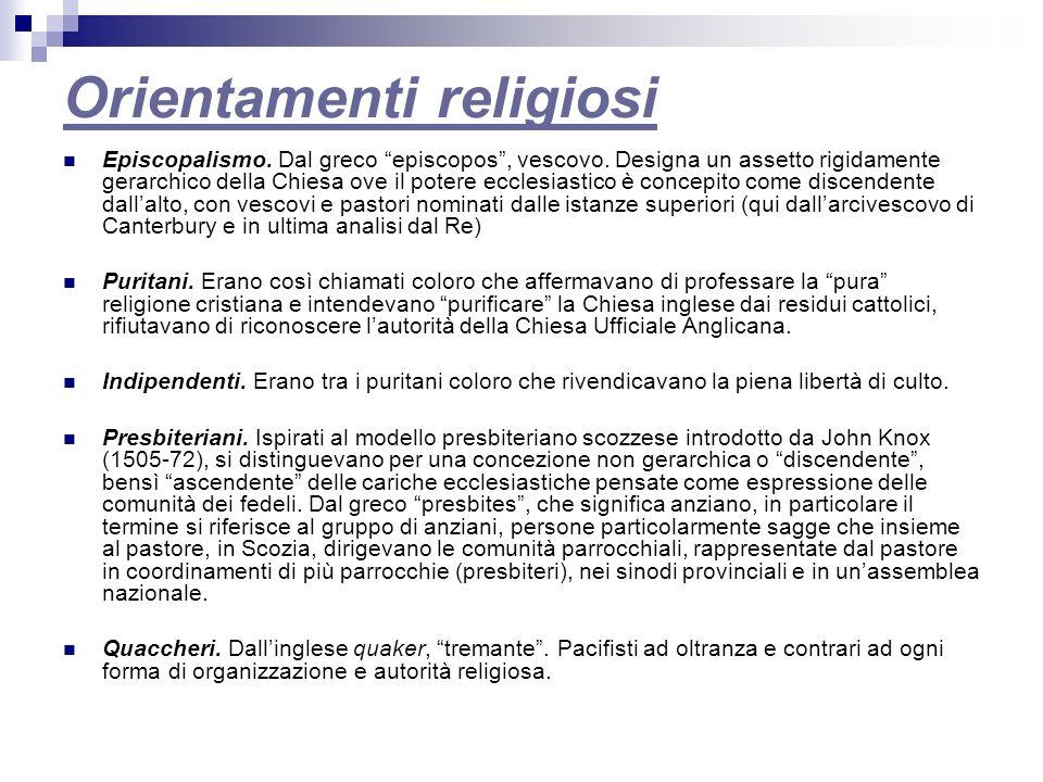 Orientamenti religiosi Episcopalismo.Dal greco episcopos, vescovo.