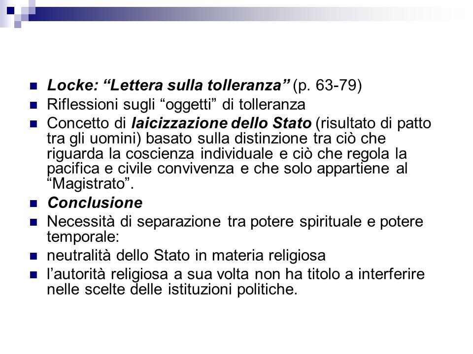 Locke: Lettera sulla tolleranza (p.