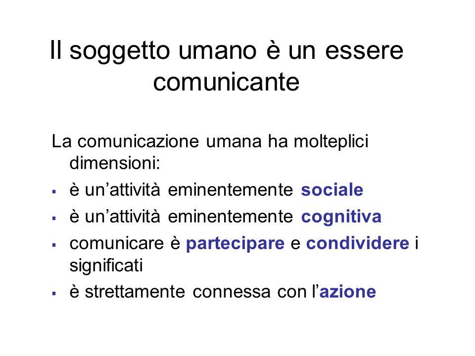 La comunicazione umana ha molteplici dimensioni: è unattività eminentemente sociale è unattività eminentemente cognitiva comunicare è partecipare e co
