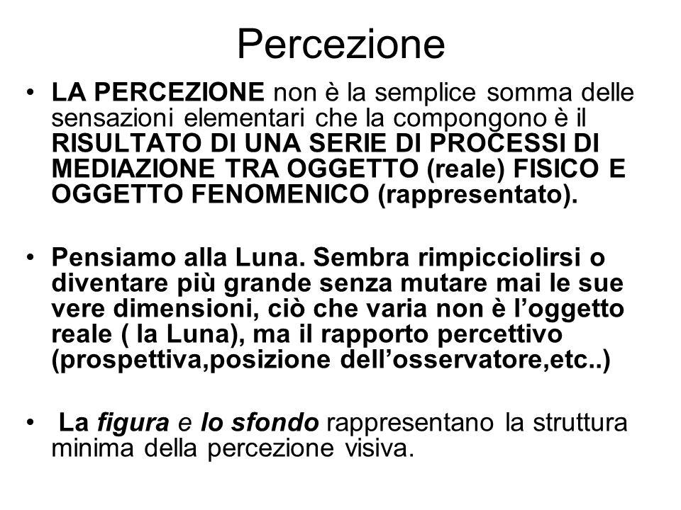 Percezione LA PERCEZIONE non è la semplice somma delle sensazioni elementari che la compongono è il RISULTATO DI UNA SERIE DI PROCESSI DI MEDIAZIONE TRA OGGETTO (reale) FISICO E OGGETTO FENOMENICO (rappresentato).