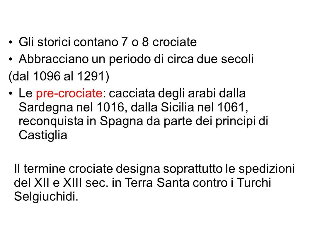 Il termine crociate designa soprattutto le spedizioni del XII e XIII sec.