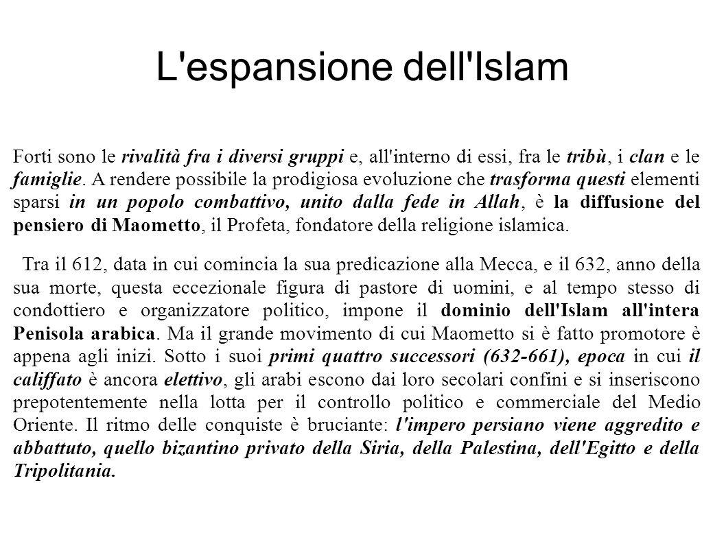 L espansione dell Islam Forti sono le rivalità fra i diversi gruppi e, all interno di essi, fra le tribù, i clan e le famiglie.