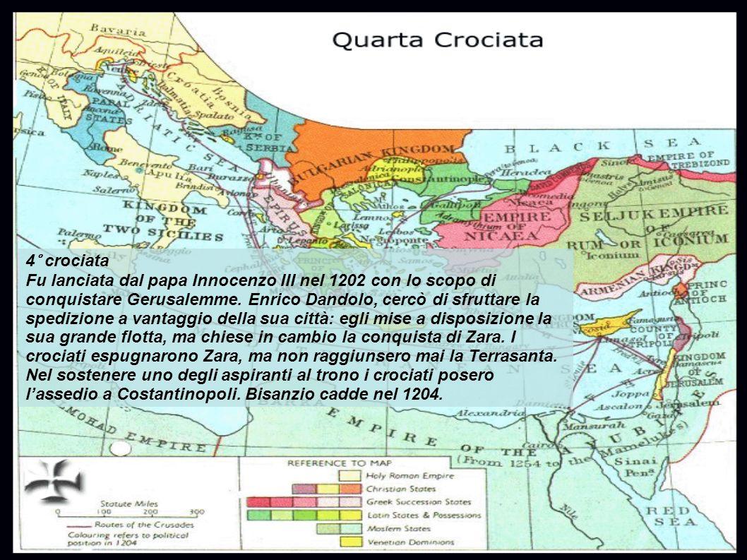 4° crociata Fu lanciata dal papa Innocenzo III nel 1202 con lo scopo di conquistare Gerusalemme.