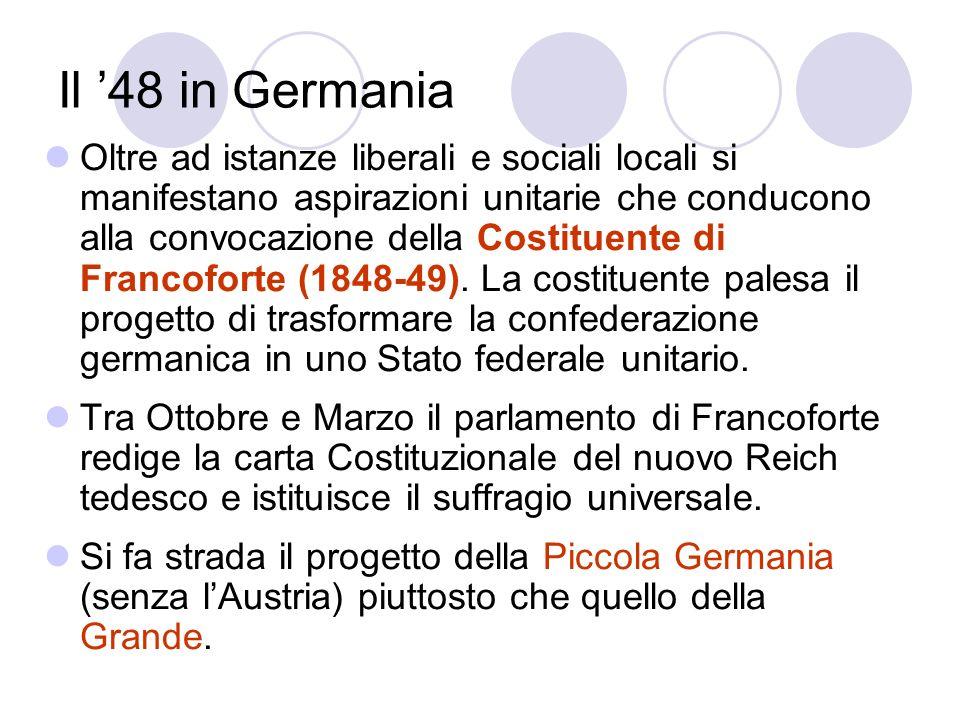 Il 48 in Germania Oltre ad istanze liberali e sociali locali si manifestano aspirazioni unitarie che conducono alla convocazione della Costituente di