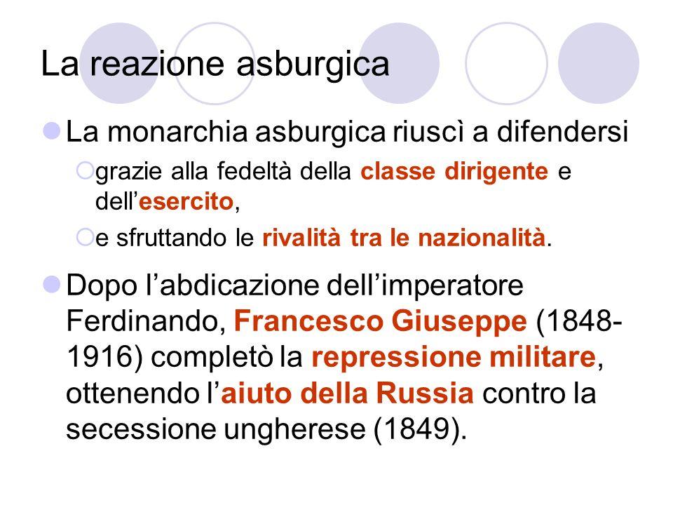 La reazione asburgica La monarchia asburgica riuscì a difendersi grazie alla fedeltà della classe dirigente e dellesercito, e sfruttando le rivalità t