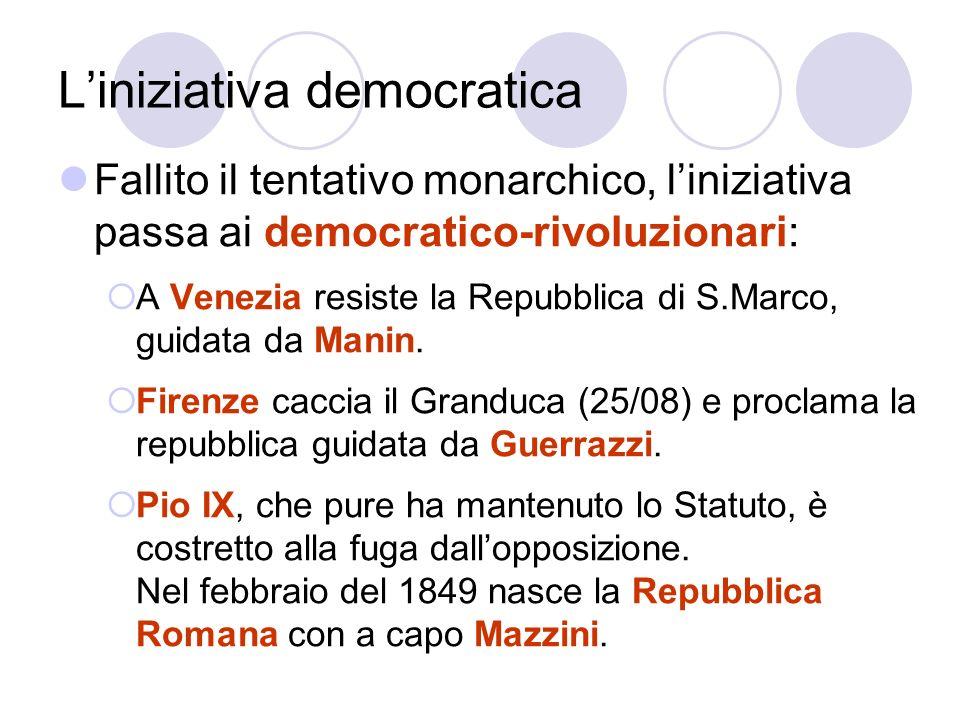 Liniziativa democratica Fallito il tentativo monarchico, liniziativa passa ai democratico-rivoluzionari: A Venezia resiste la Repubblica di S.Marco, g