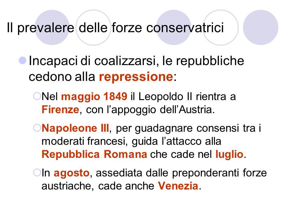 Il prevalere delle forze conservatrici Incapaci di coalizzarsi, le repubbliche cedono alla repressione: Nel maggio 1849 il Leopoldo II rientra a Firen