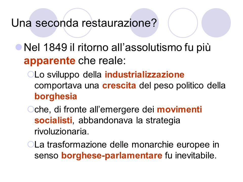 Una seconda restaurazione? Nel 1849 il ritorno allassolutismo fu più apparente che reale: Lo sviluppo della industrializzazione comportava una crescit