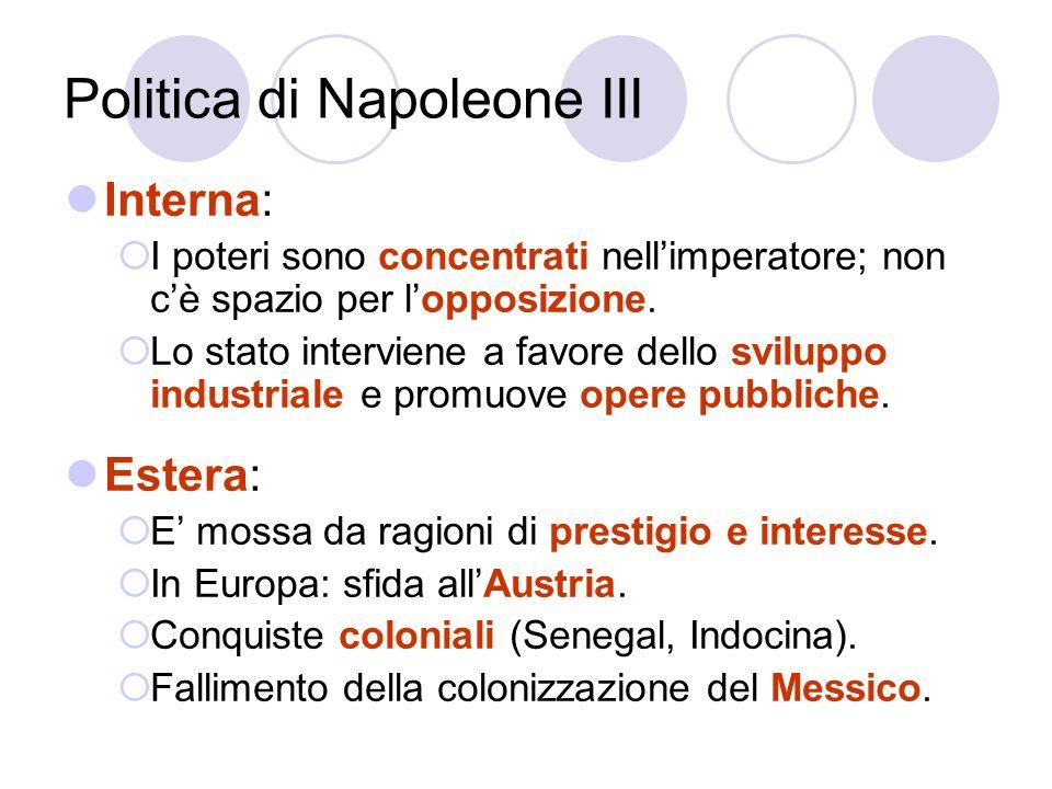 Politica di Napoleone III Interna: I poteri sono concentrati nellimperatore; non cè spazio per lopposizione. Lo stato interviene a favore dello svilup