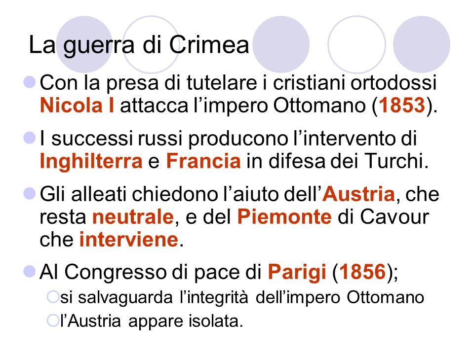 La guerra di Crimea Con la presa di tutelare i cristiani ortodossi Nicola I attacca limpero Ottomano (1853). I successi russi producono lintervento di