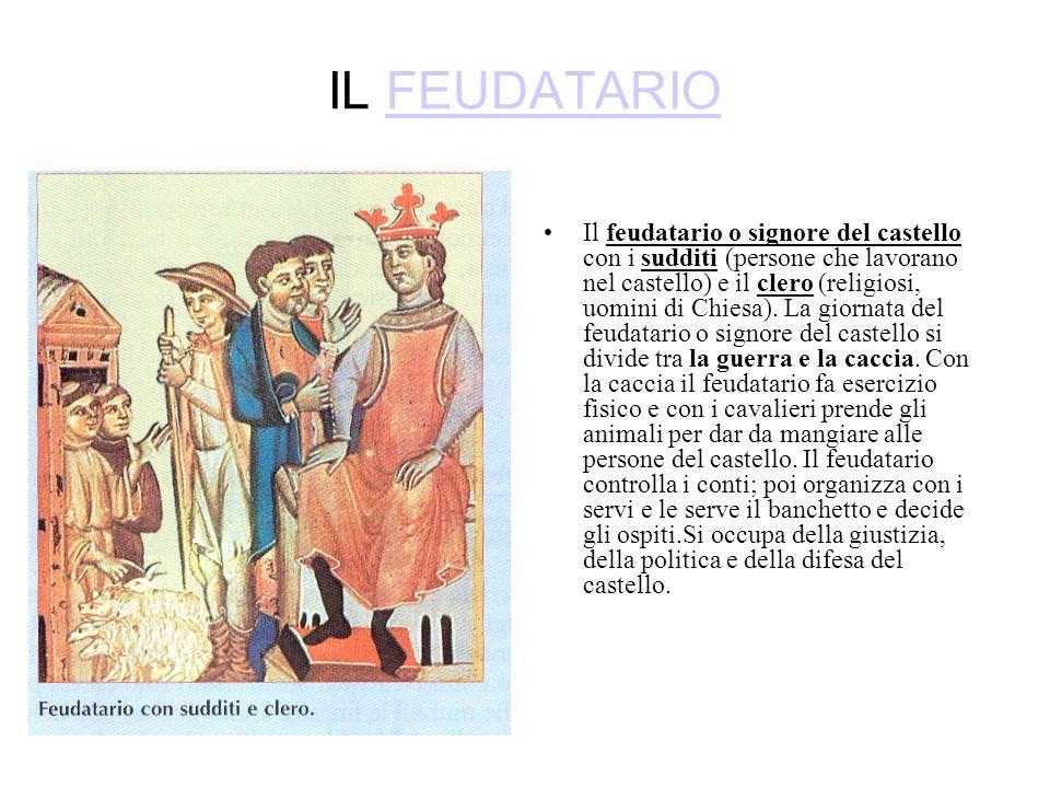 IL FEUDATARIOFEUDATARIO Il feudatario o signore del castello con i sudditi (persone che lavorano nel castello) e il clero (religiosi, uomini di Chiesa).