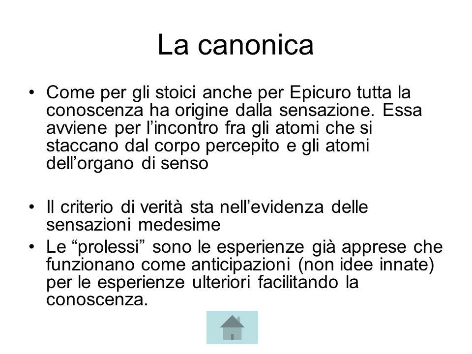 La canonica Come per gli stoici anche per Epicuro tutta la conoscenza ha origine dalla sensazione. Essa avviene per lincontro fra gli atomi che si sta