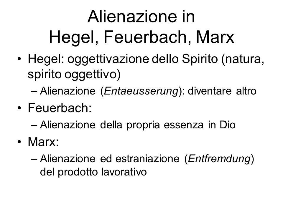 Alienazione in Hegel, Feuerbach, Marx Hegel: oggettivazione dello Spirito (natura, spirito oggettivo) –Alienazione (Entaeusserung): diventare altro Feuerbach: –Alienazione della propria essenza in Dio Marx: –Alienazione ed estraniazione (Entfremdung) del prodotto lavorativo