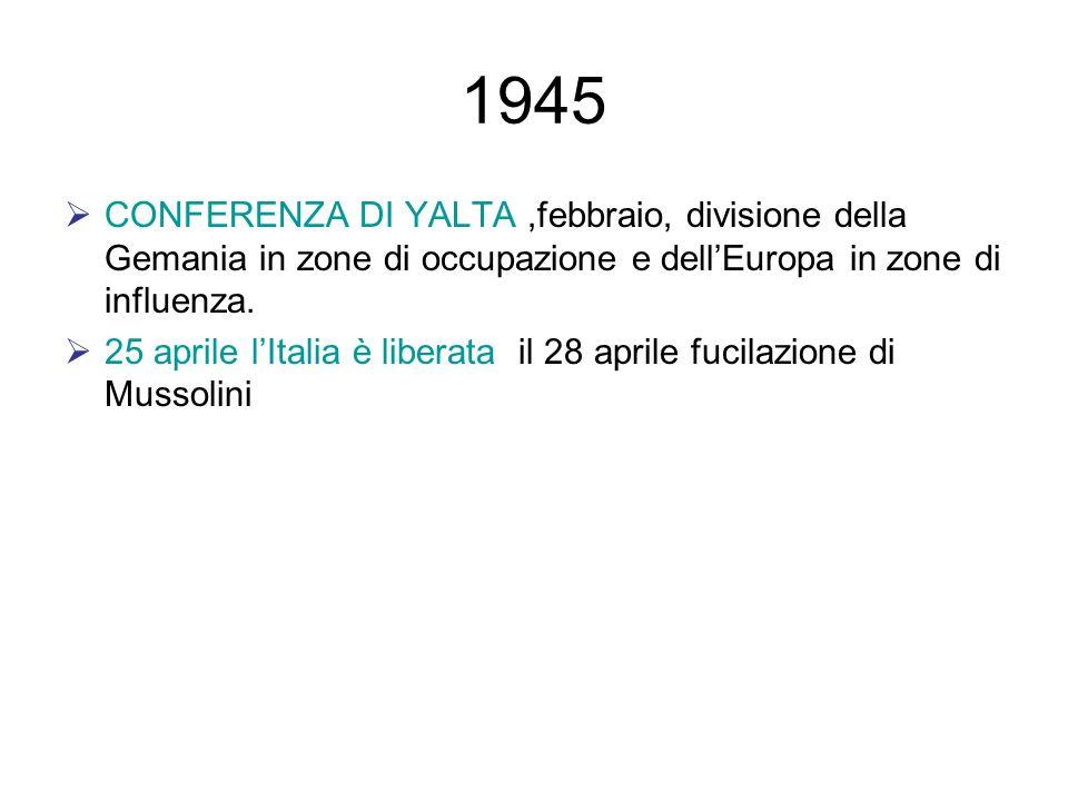 1945 CONFERENZA DI YALTA,febbraio, divisione della Gemania in zone di occupazione e dellEuropa in zone di influenza. 25 aprile lItalia è liberata il 2