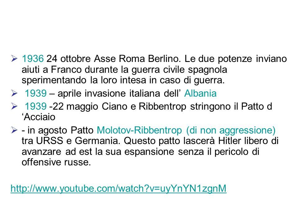 1936 24 ottobre Asse Roma Berlino. Le due potenze inviano aiuti a Franco durante la guerra civile spagnola sperimentando la loro intesa in caso di gue