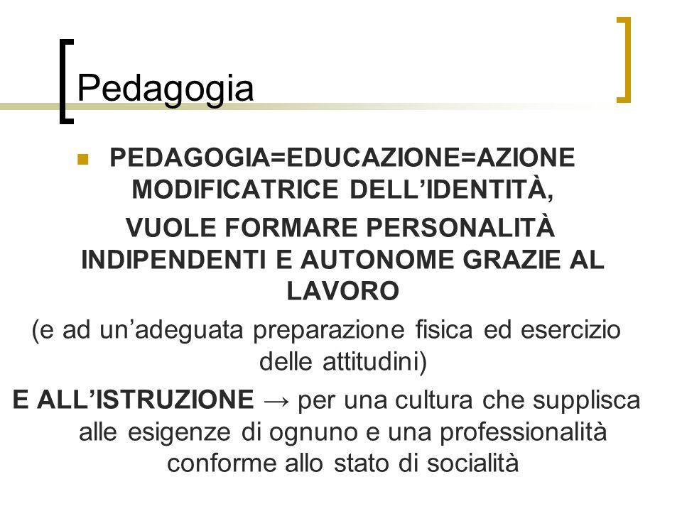 Pedagogia PEDAGOGIA=EDUCAZIONE=AZIONE MODIFICATRICE DELLIDENTITÀ, VUOLE FORMARE PERSONALITÀ INDIPENDENTI E AUTONOME GRAZIE AL LAVORO (e ad unadeguata