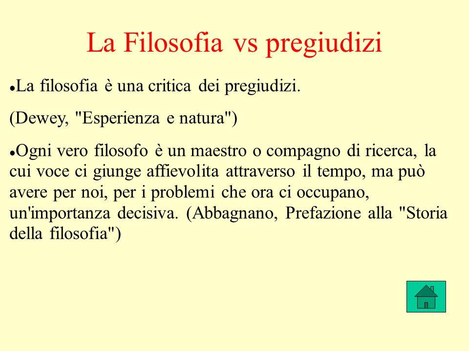 La Filosofia vs pregiudizi La filosofia è una critica dei pregiudizi.
