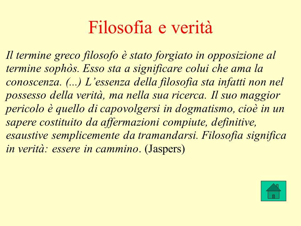Filosofia e verità Il termine greco filosofo è stato forgiato in opposizione al termine sophòs.