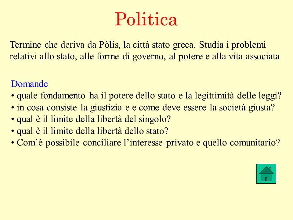 Politica Termine che deriva da Pòlis, la città stato greca. Studia i problemi relativi allo stato, alle forme di governo, al potere e alla vita associ
