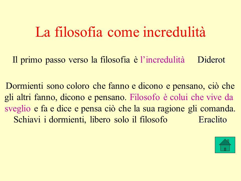 La filosofia come incredulità Diderot Il primo passo verso la filosofia è lincredulità Diderot Dormienti sono coloro che fanno e dicono e pensano, ciò che gli altri fanno, dicono e pensano.