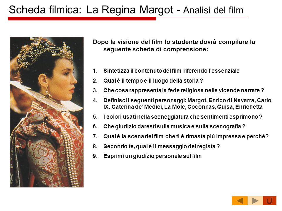Scheda filmica: La Regina Margot - Analisi del film Dopo la visione del film lo studente dovrà compilare la seguente scheda di comprensione: 1.Sinteti