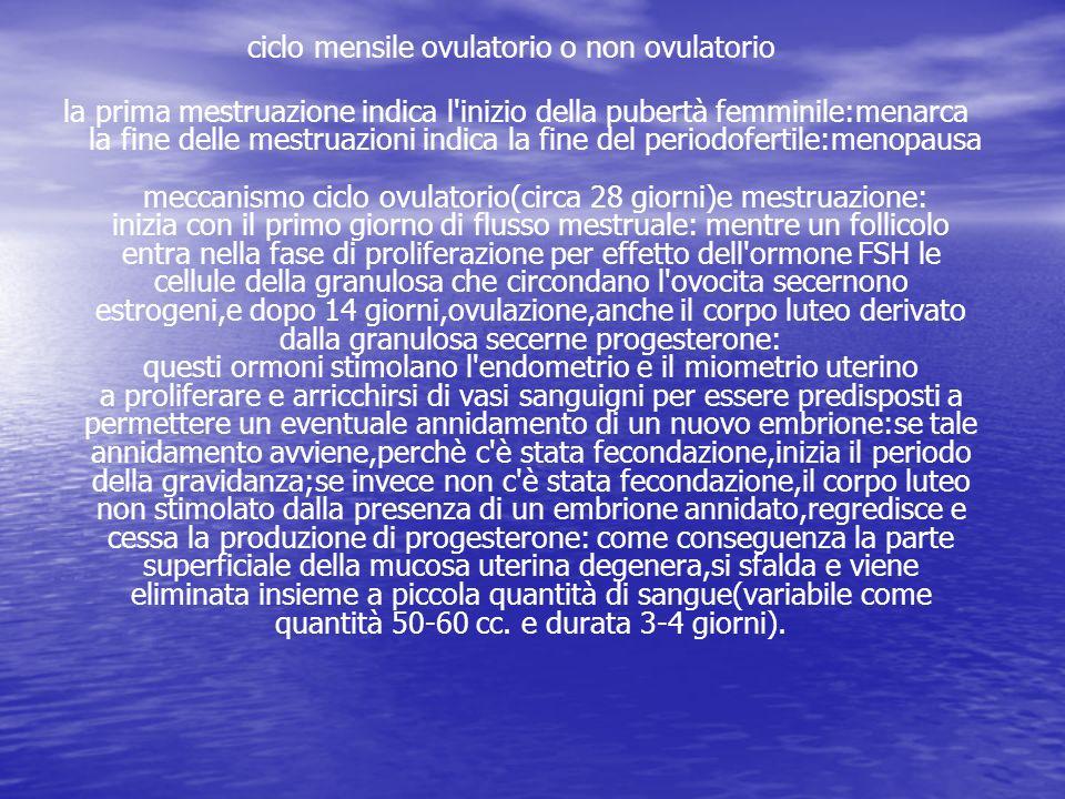 ciclo mensile ovulatorio o non ovulatorio la prima mestruazione indica l'inizio della pubertà femminile:menarca la fine delle mestruazioni indica la f
