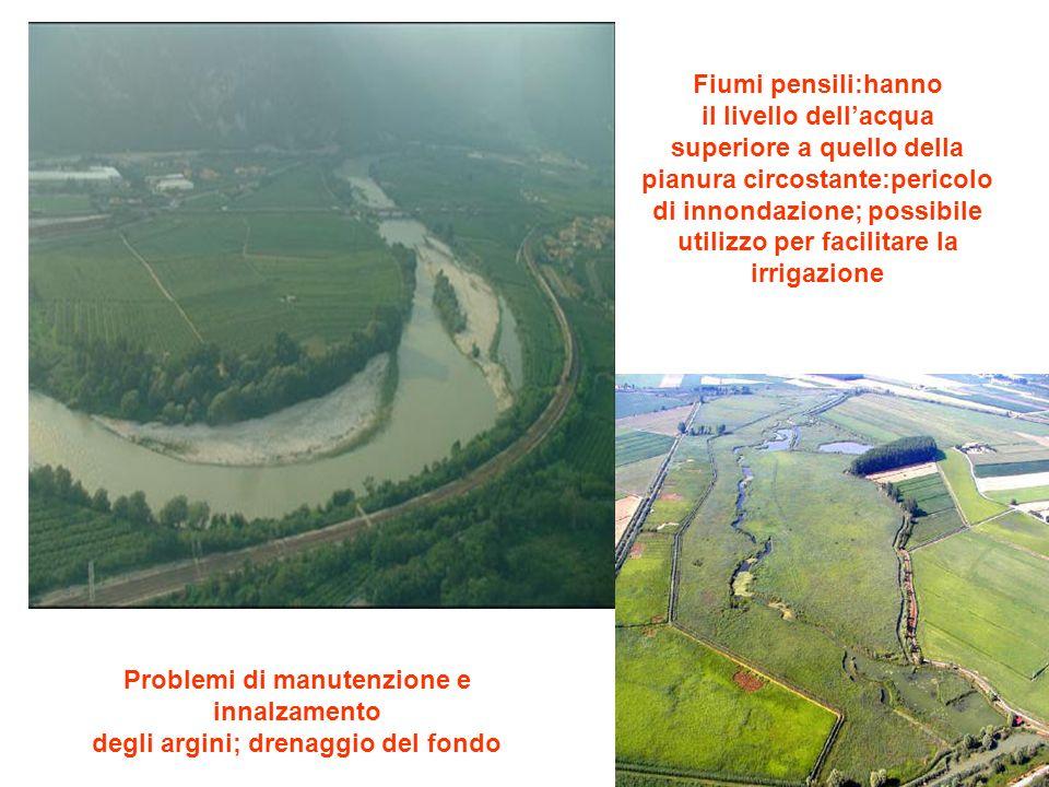 Fiumi pensili:hanno il livello dellacqua superiore a quello della pianura circostante:pericolo di innondazione; possibile utilizzo per facilitare la i