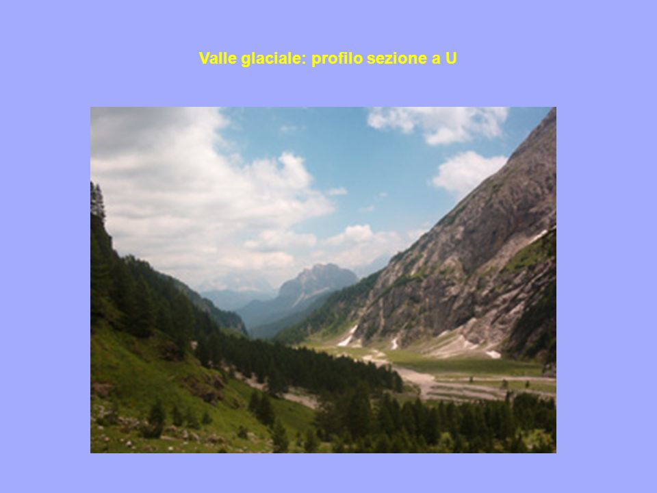 Valle glaciale: profilo sezione a U
