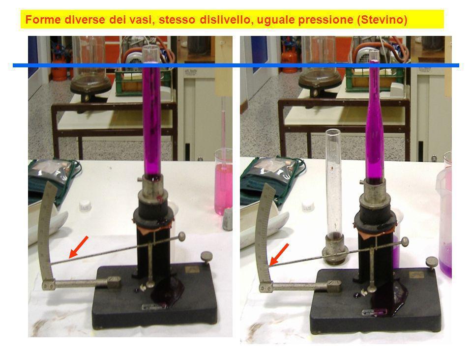 Forme diverse dei vasi, stesso dislivello, uguale pressione (Stevino)