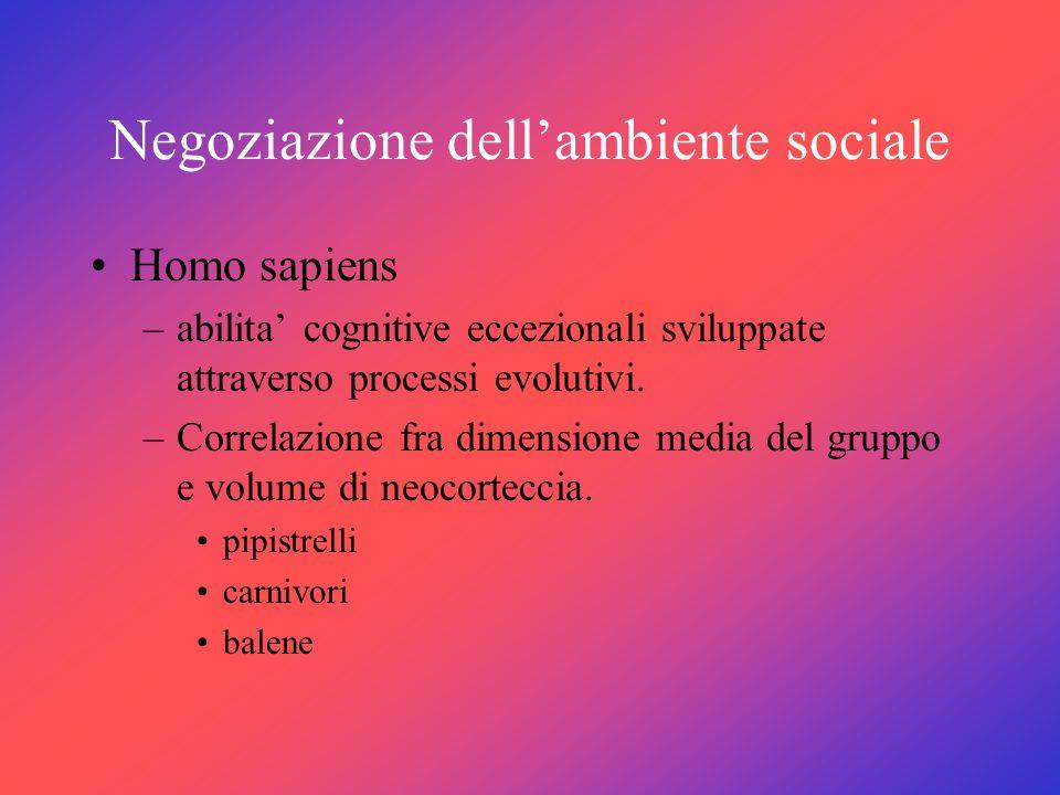 Negoziazione dellambiente sociale Homo sapiens –abilita cognitive eccezionali sviluppate attraverso processi evolutivi. –Correlazione fra dimensione m