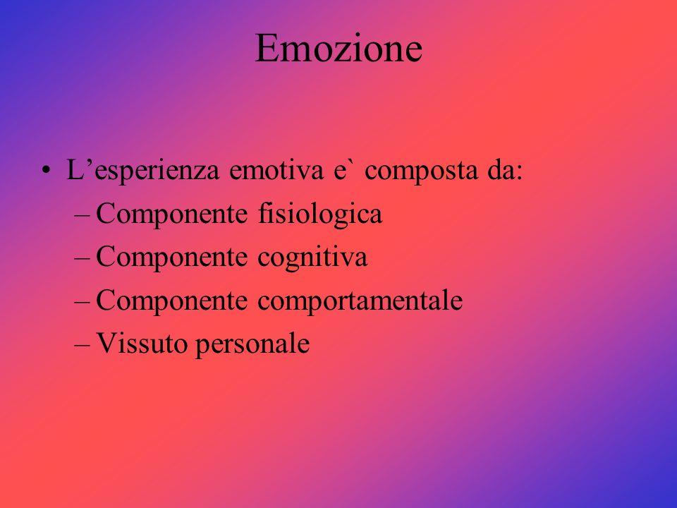Emozione Lesperienza emotiva e` composta da: –Componente fisiologica –Componente cognitiva –Componente comportamentale –Vissuto personale