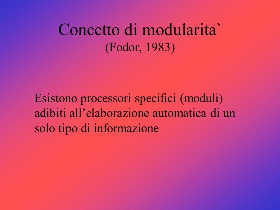 Concetto di modularita` (Fodor, 1983) Esistono processori specifici (moduli) adibiti allelaborazione automatica di un solo tipo di informazione