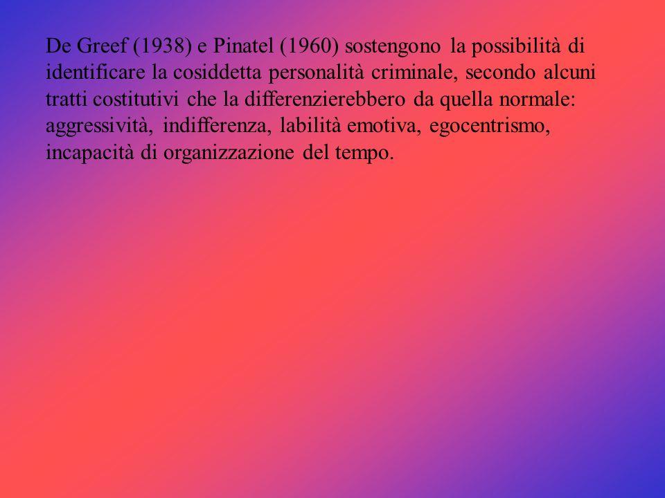 De Greef (1938) e Pinatel (1960) sostengono la possibilità di identificare la cosiddetta personalità criminale, secondo alcuni tratti costitutivi che