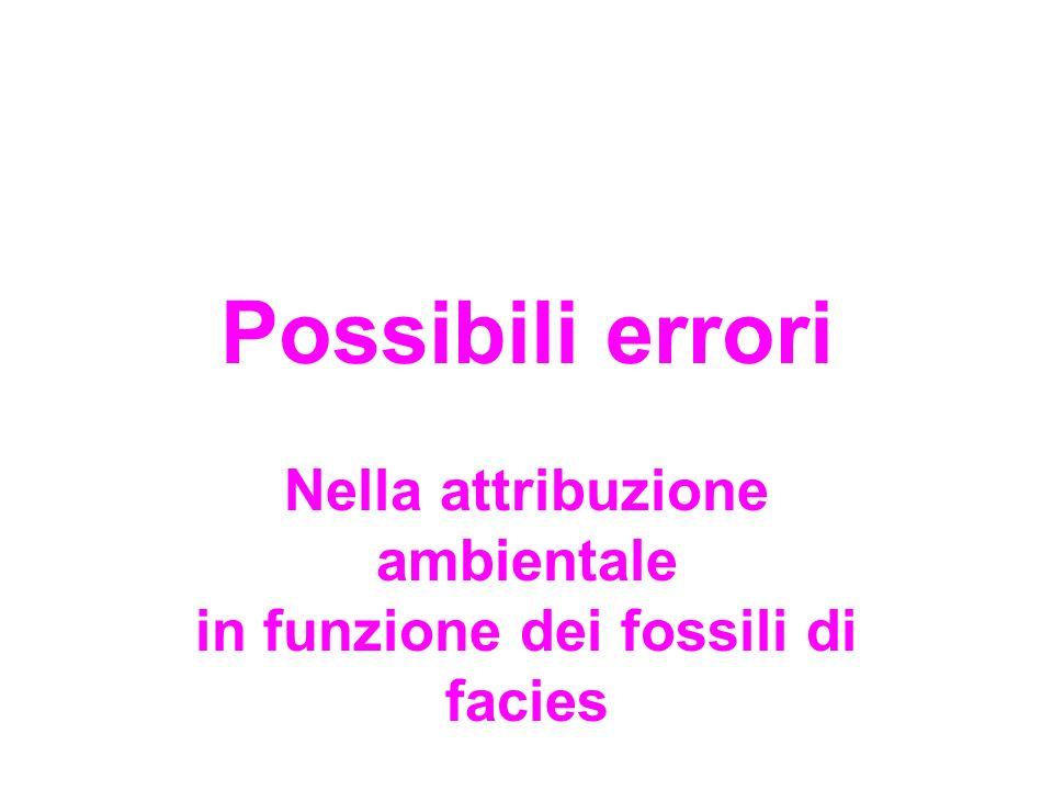 Possibili errori Nella attribuzione ambientale in funzione dei fossili di facies