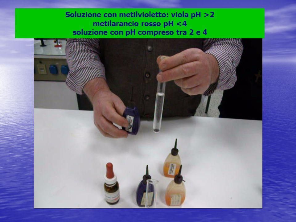 Soluzione con metilvioletto: viola pH >2 metilarancio rosso pH <4 soluzione con pH compreso tra 2 e 4